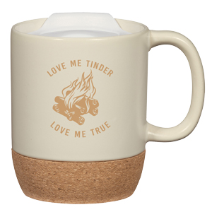 LIDDED CERAMIC CORK MUG, 14 OZ
