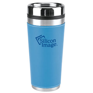 LEATHERETTE TRAVEL MUG, 16 OZ